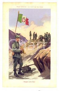 1915 ca WW1 FRONTE ITALIANO Sveglia sulle Alpi *Cartolina illustrata FP NV
