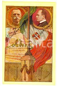 1923 Comitato AZIONE PATRIOTTICA P.T.T. Omaggio al Re e a Mussolini *Cartolina