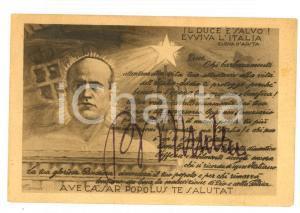 1926 Attentato a MUSSOLINI - Cartolina con frase ELENA D'AOSTA *PROPAGANDA RARA