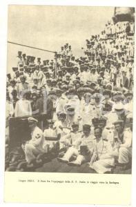 1923 FASCISMO Il Duce fra l'equipaggio della R. N. DUILIO *Cartolina FP NV
