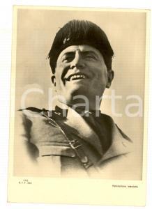 1938 FASCISMO Ritratto di Mussolini in divisa con il fez *Cartolina PROPAGANDA