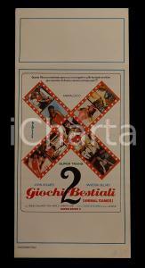1985 ca GIOCHI BESTIALI 2 John HOLMES Vanessa DEL RIO *Manifesto EROTICO 32x70