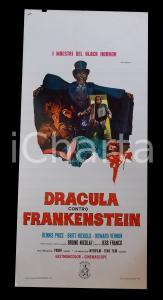 1972 DRACULA CONTRO FRANKENSTEIN Jesùs FRANCO Dennis PRICE *Manifesto 32x70 cm