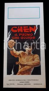 1976 CHEN IL PUGNO CHE UCCIDE Jack RYAN *Manifesto ARTI MARZIALI 32x70 cm