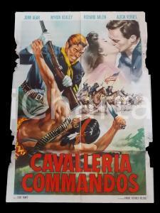 1958 CAVALLERIA COMMANDOS John AGAR Pancho MAGALONA Manifesto WESTERN 100x140 cm