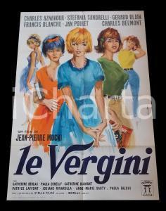 1963 LE VERGINI Charles AZNAVOUR Stefania SANDRELLI Gérard BLAIN *Manifesto