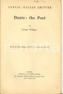 1921 Cesare FOLIGNO Dante: the Poet - OXFORD UNIVERSITY PRESS *Invio AUTOGRAFO