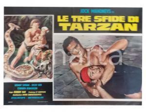 1963 LE TRE SFIDE DI TARZAN Jock MAHONEY soffoca indigeno *Lobby card 63x45
