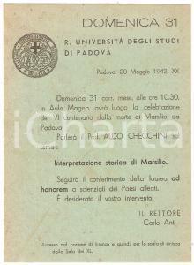 1942 PADOVA REGIA UNIVERSITÀ Invito conferenza Aldo CHECCHINI Marsilio da Padova