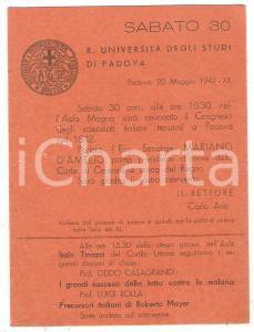 1942 PADOVA - REGIA UNIVERSITÀ Invito a intervento del Senatore Mariano D'AMELIO