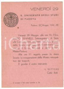 1942 PADOVA - REGIA UNIVERSITA' Intervento Mario JANNELLI su Enrico BERNARDI