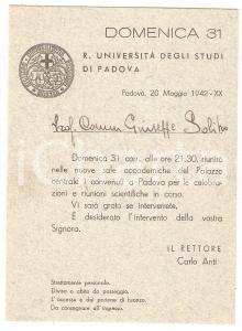 1942 PADOVA - REGIA UNIVERSITÀ Invito alle celebrazioni e riunioni scientifiche