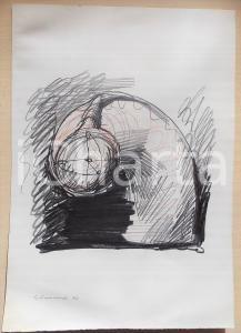 1972 ARTE Paolo SCHIAVOCAMPO Disegno astratto - Pastello su carta FIRMATO 24x34