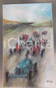 1935 FUTURISMO Aris BACCI Gara automobilistica *Tempera su carta FIRMATO 30x50