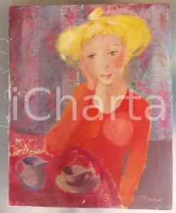 1970 ARTE Daniela Romano - Fanciulla al tavolino - olio su tela 40x50