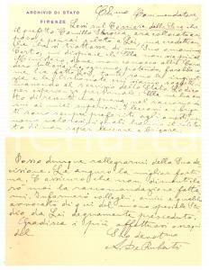 1930 ca FIRENZE Archivio di Stato - Achille DE RUBERTIS - Biglietto AUTOGRAFO