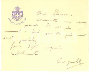 1930 ROMA Consiglio di Stato - Aristide CARAPELLE - Biglietto AUTOGRAFO