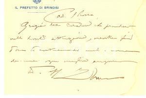 1931 BRINDISI Prefetto Francesco ROSSO - Biglietto AUTOGRAFO