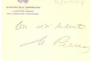 1930 ROMA Mariano PIERRO - Ministero delle Corporazioni - Biglietto AUTOGRAFO