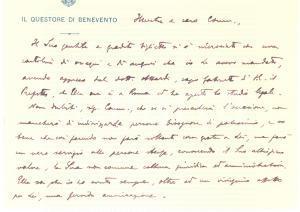 1930 Questore di BENEVENTO - Biglietto AUTOGRAFO per auguri ad avvocato