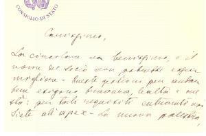 1930 ROMA - CONSIGLIO DI STATO - Biglietto AUTOGRAFO per nuova attività