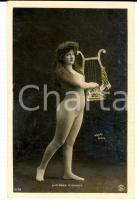 1910 ca Actress LUCIENNE D'ARMOY naked with lyre - Erotic French postcard WALERY