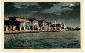1946 SAN VINCENZO (LI) Veduta notturna con case sulla spiaggia *Cartolina FP
