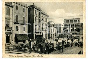 1942 OLBIA (SASSARI) Edicola in piazza REGINA MARGHERITA *Cartolina ANIMATA FG