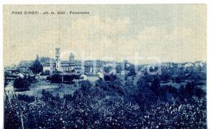 1943 PINO D'ASTI Panorama del paese *Cartolina VINTAGE - FP VG