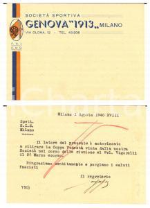 1940 CICLISMO MILANO Società GENOVA 1913 - Cartolina per Coppa Podestà