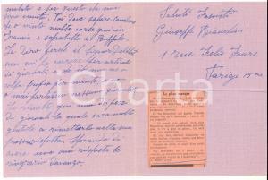 1938 CICLISMO PARIS Giuseppe BIANCHINI per campionati mezzofondo - AUTOGRAFO
