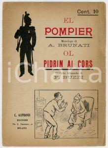 1900 ca Alessandro BRUNATI El pompier / F. BUZZI Ol pidrin ai cors di cavai