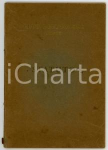 1933 MILANO Statuto del CLUB DELL'UNIONE *Stabilimento Luigi MOZZATI - 29 pp.