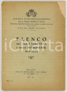 1937 SOCIETÀ DI INCORAGGIAMENTO RAZZE EQUINE Elenco dei soci e delle patronesse