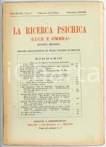 1934 LA RICERCA PSICHICA Ernesto Bozzano al Congresso Spiritualista *Fasc. 9