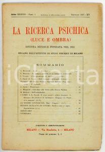 1937 LA RICERCA PSICHICA L'interpretazione dei fenomeni precognitivi *Fasc. 1
