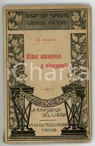 1910 Giuseppe PARINI Rime amorose e piacevoli *LA RINASCENZA DEL LIBRO - 44 pp.