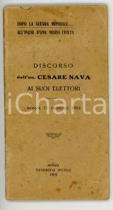 1919 Cesare NAVA Discorso ai suoi elettori - Dopo la guerra mondiale *48 pp.