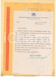 1938 ROMA CICLISMO Lettera Dario PIETRANGELI per ingaggio LATINI - Autografo