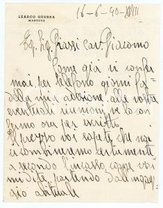 1940 CICLISMO MANTOVA Lettera Learco GUERRA per prossime gare - AUTOGRAFO