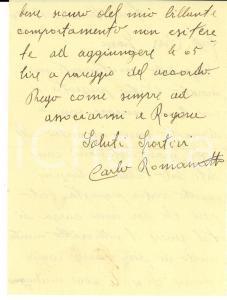1940 CICLISMO FINO MORNASCO Lettera Carlo ROMANATTI per ingaggio - AUTOGRAFO