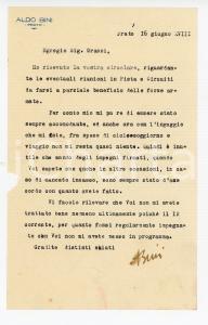 1940 CICLISMO PRATO Lettera Aldo BINI sulle gare pro forze armate - AUTOGRAFO