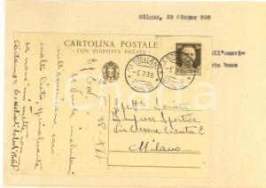 1938 CICLISMO CASTELLANZA Cartolina Alfredo BOVET per gara - AUTOGRAFO