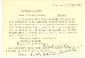 1938 CICLISMO FIRENZE Società PONTECCHI - Cartolina Nello CIACCHERI - AUTOGRAFO