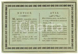 1830 ca PARIS Rue du Lycée - Hotel CHATILLON proprietario MEOT - Biglietto