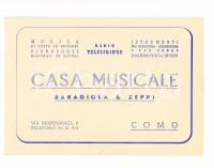 1950 ca COMO Casa Musicale BARAGIOLA & ZEPPI - Cartoncino tessera punti