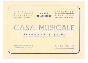 1950 ca COMO Casa Musicale BARAGIOLA & ZEPPI - Cartoncino raccolta punti