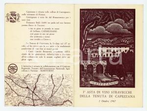 1967 CAPEZZANA 1^ Asta di vini stravecchi - Biglietto PUBBLICITARIO VINTAGE