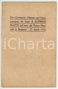 1910 Ciro CAVERSAZZI Busto di Alfredo Piatti nel Teatro Donizetti di Bergamo