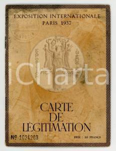 1937 Exposition Internationale PARIS - Carte de légitimation Antonio MERLO *Map